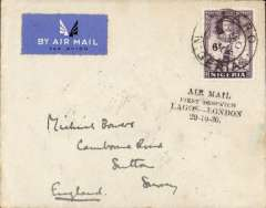 "(Nigeria) Extension of West African Feeder Service, Elders Colonial Airways/Imperial Airways F/F Lagos to London,  carried on the inaugural Lagos-Kano service, plain registered (label) etiquette cover correctly rated 6d airmail, canc Lagos ds, special black ""Air Mail/First Dispatch/Lagos-London/29-10-36"" cachet. Violet ink used at Minna and Oshogbo, and black at Lagos. Described and illustrated in West African Airmails, The McCaig and Porter Collections, Priddy, B., West Africa Study Circle, 2002."