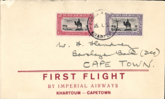 (Sudan) Imperial Airways 1st regular service Khartoum to Cape Town, bs 2/2, via Johannesburg 1/2, uncommon red/cream souvenir cover franked 3 1/.2P + 10ml, canc Khartoum cds. This flight was interrupted twice, first when it had to make a forced landing at Shiwa, having had to overshoot Mpika in bad weather, and again at Broken Hill when the plane was taken out of service to search for the first northbound flight from Cape Town which had crashed at Salisbury, ref Ni 320129A.