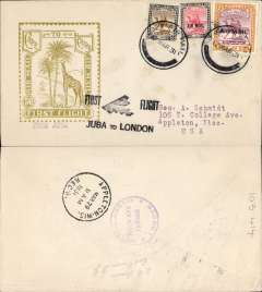 "(Sudan) First acceptance of mail from Sudan for USA for carriage on Imperial Airways inaugural East Africa-England service, Juba to London, Imperial Airways House London arrival verso, and on to Appleton, WIsc bs 29/3, black ""First Flight/Juba to London"" biplane F/F cachet, Roessler yellow/olive ""London to Cape/Air Mail/First Flight"" envelope, ref ROE.FF5, illustrated p91 Newton, franked 2P 15ml. Scarce final destination since only 154 were flown to London."