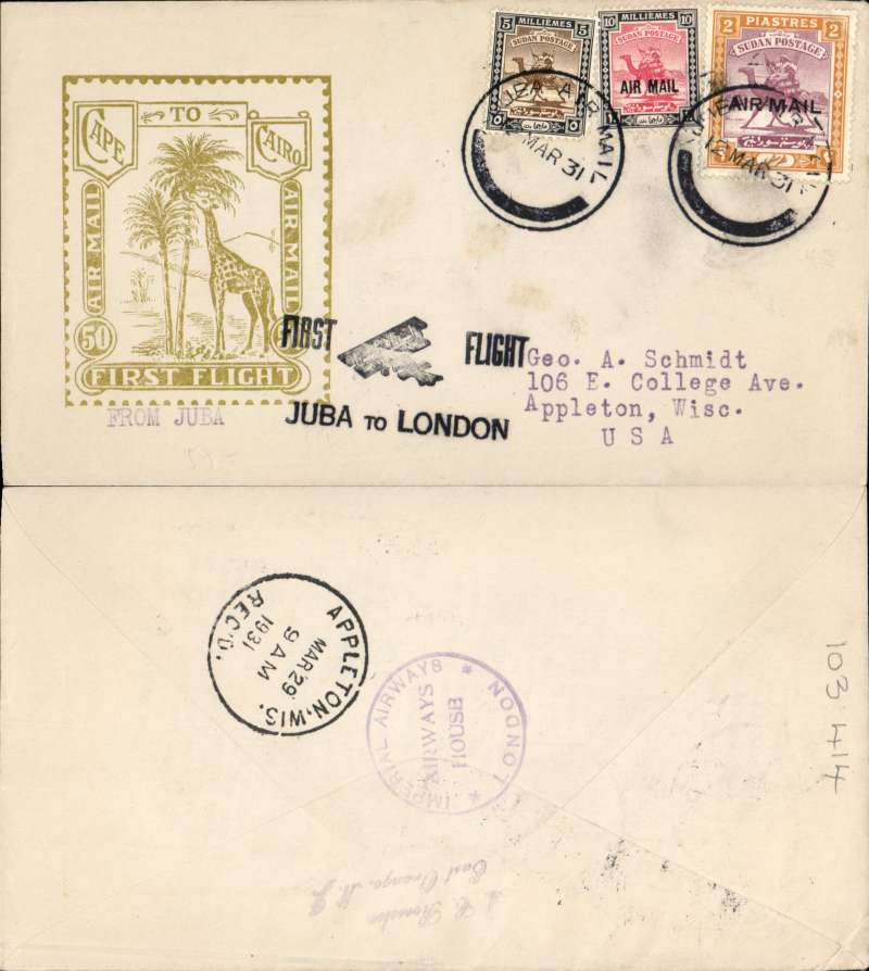 """(Sudan) First acceptance of mail from Sudan for USA for carriage on Imperial Airways inaugural East Africa-England service, Juba to London, Imperial Airways House London arrival verso, and on to Appleton, WIsc bs 29/3, black """"First Flight/Juba to London"""" biplane F/F cachet, Roessler yellow/olive """"London to Cape/Air Mail/First Flight"""" envelope, ref ROE.FF5, illustrated p91 Newton, franked 2P 15ml. Scarce final destination since only 154 were flown to London."""