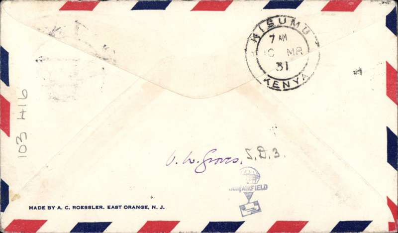 (Sudan) Cover flown  F/F WadI Halfa to Mwanza, bs Kisumu 10/3, Roessler airmail cover franked 2p 10ml, black 'First Flight/Halfa to Mwanza' biplane cachet, Imperial Airways. Francis Field authentication hs verso.