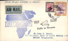 (Sudan) Cover flown  WadI Halfa to Mwanza 16/3, on F/F Croydon/Mwanza, b/s, official map cover franked 2P 10ml,  'First Flight/Halfa to Mwanza' biplane cachet, Imperial Airways,
