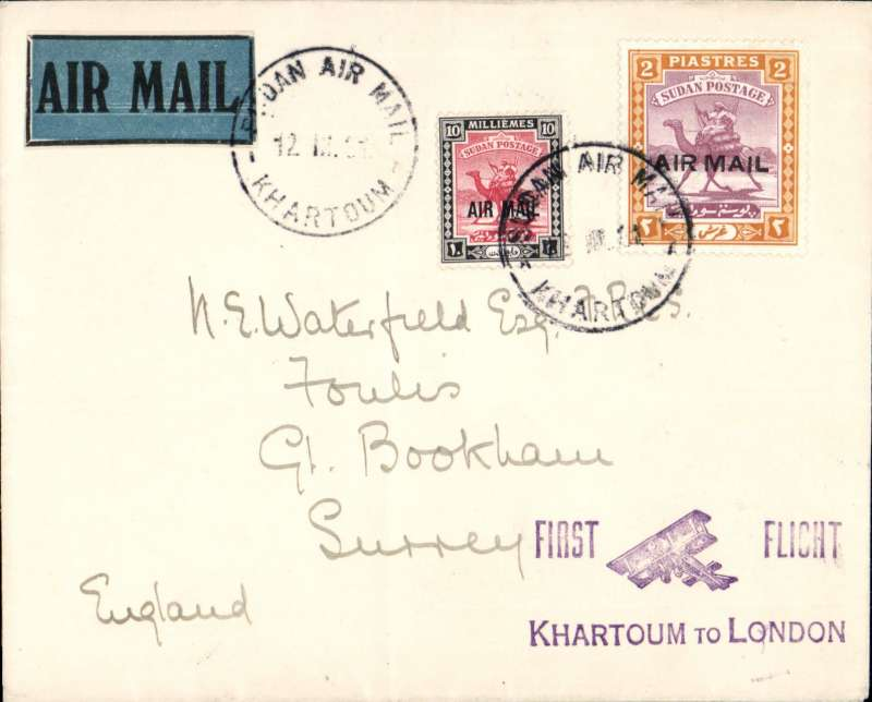 (Sudan) F/F Khartoum to London, carried on return of inaugural London to East Africa service, violet Khartoum -London biplane cachet, official blue map cover franked 2P 10ml., Imperial Airways. Ironed vertical crease.