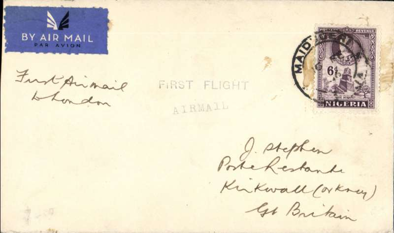 """(Scarce/Unusual Routing) NIGERIA TO SCOTLAND, MAIDUGURI TO KIRKWALL,  Delayed F/F, Elders Colonial AW/Imperial AW West Africa Feeder Service to Khartoum WAN2 by Daedalus (the first northbound feeder service to carry mail, see Wingent p179,80) then transferred to IAW South Africa - GB service AS319 carried to Cairo/Athens one day late by Hannibal, to London 25/2 by Scipio, and on by air to Kirkwall 26/2. Plain etiquette cover, franked  6d canc Maiduguri cds,  """"First Flight/Airmail"""" hs. Only small mail from Maiduguri, see West African Airmails, The McCaig and Porter Collections, Priddy, B., West Africa Study Circle, 2012. Few hinge marks on flap, see image."""