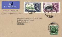 "(Nigeria) First airmail service outside Nigeria, Maiduguri to London, Sutton Coldfield 26/2 arrival ds on front, plain etiquette cover, franked 1 1/2d, ms ""First Flight/Maiduguri-Khartoum-London"", carried on F/F Elders Colonial AW/Imperial AW. Francis Field authentication hs verso. Only small mail from Miaduguri, see also Priddy, p18."