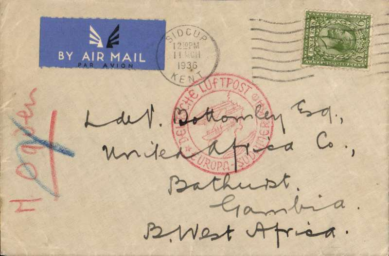 "(Gambia) German airmail service, inward air cover to Gambia from Great Britain, London to Bathurst, bs 14/3, carried on the German trans Atlantic catapult service, flight L 149, from Stuttgart to Brazil via Gambia, plain etiquette cover franked GB GV 6d, canc Sidcup cds, special red circular ""Deutsche Luftpost/Europa-Sudamerika"" cachet enclosing a representation of a Zeppelin and a flying boat over water. One of the last covers to be routed via Stuttgart before the terminus was altered to Frankfurt in April 1936. See McCaig's article on West African Airmails, pp 25-34, Postal History Journal, June 1981, which includes illustrations of several covers flown on this service, and one very similar to this present item."