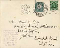 "(GB External) H.L.Brook's ""PRAGA BABY"" flight envelope bearing GB and SA adhesives and at left the handstamped cachet: ""Carried by 36 HP Praga Baby first flight England-Cape Town Ultra Light Planes. In record time of 16 days 20 hrs. Piloted by HL Brook, May 6th-May 23rd 1936."" The cover was sent to HL Brook at Newtown house Aerodrome prior to the flight, carried on the flight, and posted on his arrival to the pilot at the municipal airport Cape Town. A very fine example. Currenly retails at £225."
