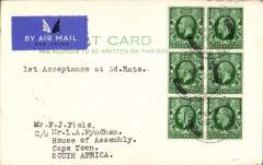 "(GB External) First acceptance of mail for South Africa from London at the new 3d Flat Rate for post cards, airmail etiquette PC addressed to L.A. Wyndham, House of Assembly, Cape Town, bs 30/11, franked 6x KGV 1/2d, postmarked day of issue, ms '1st Acceptance at 3d Rate'. This card was addressed to a very prominent aero philatelist in the United Kingdom care of an equally prominent aero philatelist in South Africa. Verso a message ""Greetings"" signed by Francis F. Field. Nice item with aerophilatelic connections.."