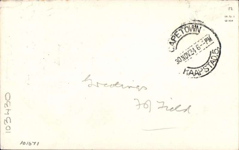 """(GB External) First acceptance of mail for South Africa from London at the new 3d Flat Rate for post cards, airmail etiquette PC addressed to L.A. Wyndham, House of Assembly, Cape Town, bs 30/11, franked 6x KGV 1/2d, postmarked day of issue, ms '1st Acceptance at 3d Rate'. This card was addressed to a very prominent aero philatelist in the United Kingdom care of an equally prominent aero philatelist in South Africa. Verso a message """"Greetings"""" signed by Francis F. Field. Nice item with aerophilatelic connections.."""