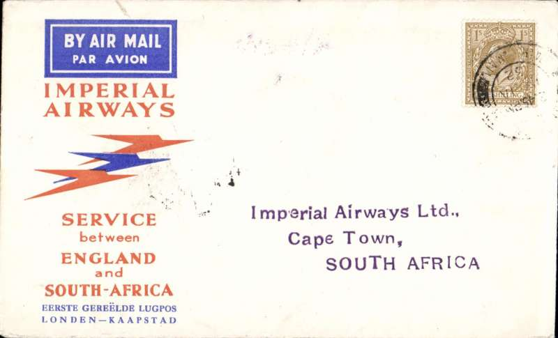 (GB External) Imperial Airways 1st flight London to Cape Town, bs 2/2, via Johannesburg 1/2, Speedbird cover franked 1/-. This flight was interrupted twice, first when it had to make a forced landing at Shiwa, having had to overshoot Mpika in bad weather, and again at Broken Hill when the plane was taken out of service to search for the first northbound flight from Cape Town which had crashed at Salisbury, ref Ni 320129A.