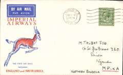 (GB External) Christmas proving flight, London to Mpika, bs 19/12, Springbok cover franked 9d, Imperial Airways. Cover addressed c/o Col. Gore Brown, a prominent settler living at Shiva in some considerable style.