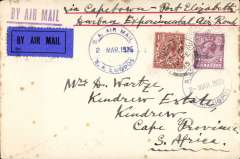 "(GB External) First regular service flight London to Durban, 2 Mar 1925 arrival ds on front, carried from Great Britain to Cape Town on the Union Castle mail steamer ""Windsor Castle"", then Cape Town- Durban on the 1st flight of the first Govt. Experimental Airmail Service, airmail etiquette cover correctly rated 7 1/2d. blue straight line ""By Air Mail"" handstamp, ms Capetown-Durban/Experimental Air Route"". Few tone spots on front, but good historical item none the less."
