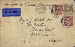 "(GB External) Early acceptance of GB mail for acceleration to Nigeria by the Latecoere Toulouse-Dakar service, London to Minna, bs 7/5, via Dakar 18/4 and Lagos 5/5,  plain cover franked 1/3d, ms ""Par Avion de Toulouse a Dakar"", black/royal blue etiquette P25. From Dakar likely carried 550 miles by coasting steamer to Freetown, then 1200 miles to Lagos on the Elder Dempster Liverpool-Lagos mail boat. This  route was seldom used as sea services from Dakar to Freetown were unpredictable. For a discussion of this route see McCaig's article on West African Airmails, page 13, Postal History Journal, October, 1979.  Superb routing, and a fine example of an early, seldom used service to Nigeria."