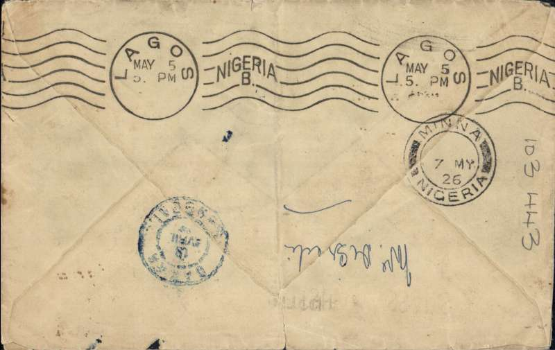 """(GB External) Early acceptance of GB mail for acceleration to Nigeria by the Latecoere Toulouse-Dakar service, London to Minna, bs 7/5, via Dakar 18/4 and Lagos 5/5,  plain cover franked 1/-, 1 1/2d x2, (one with corner defect, see scan), ms """"Par Avion de Toulouse a Dakar"""", black/royal blue etiquette P25. From Dakar likely carried 550 miles by coasting steamer to Freetown, then 1200 miles to Lagos on the Elder Dempster Liverpool-Lagos mail boat. This  route was seldom used as sea services from Dakar to Freetown were unpredictable. For a discussion of this route see McCaig's article on West African Airmails, page 13, Postal History Journal, October, 1979.  Great routing, and a good example of an early, seldom used service to Nigeria in spite of defect.."""