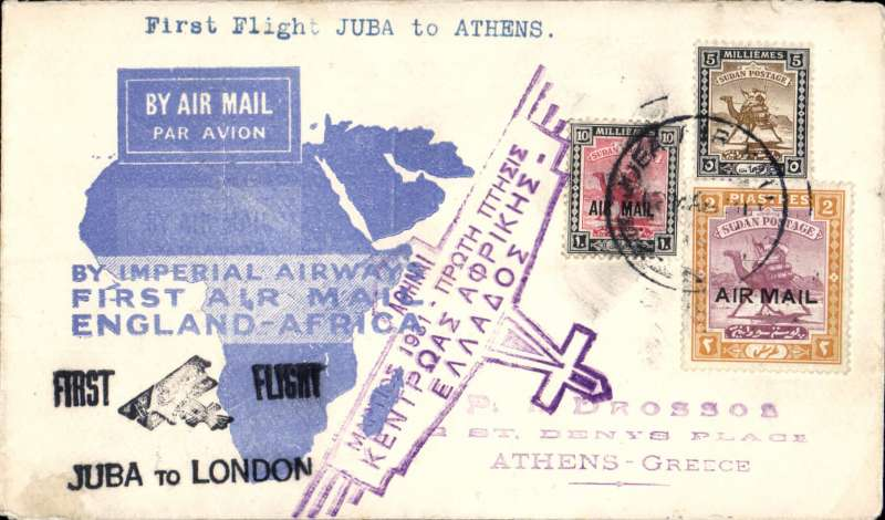 "(Sudan) F/F Juba to Athens, bs 13/3, carried on return of inaugural London to East Africa service, black ""Juba to London"" cachet and violet Athens ""plane"" reception cachet on front, blue map cover, Imperial Airways."