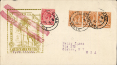 """(Kenya) First acceptance of mail from Kenya for USA for carriage on Imperial Airways inaugural East Africa-England service, Kisumu to New York, flown Kisumu to London, fine strike red double bar Jusqu'a applied in London to signify end of carriage by air,  Roessler yellow/olive """"Cape to Cairo/Air Mail/First Flight"""" envelope, ref ROE.FF5, illustrated p91 Newton, franked 75c, canc Kisumu cds."""