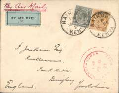 "(Kenya) East African Experimental Air Mail Service, Capt. TA Gladstone, internal feeder mail from Nairobi, addressed to London, carried on the return flight from Kisumu to Khartoum, then by RAF from Khartoum to Cairo, bs 20/2, franked Kenya and Uganda 20c and 50c canc Nairobi cds, red circular ""Kenya-Sudan/ 1st/Air Mail/Fe 15/27"" cachet (see illustration p86 Newall, rated 100u), ms ""Air Mail/ via Kisumu/Khartoum"", plain cover with black/pale green etiquette rated 'a great rarity' by Mair."