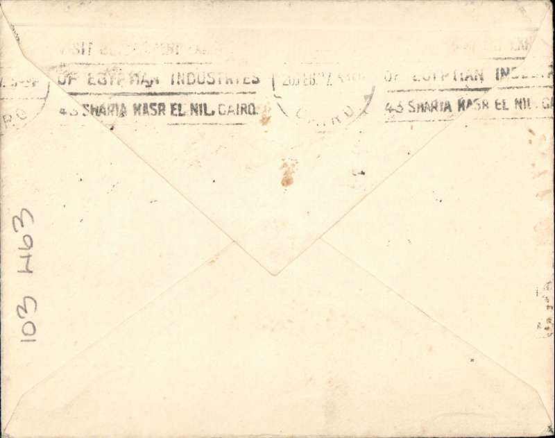 """(Kenya) East African Experimental Air Mail Service, Capt. TA Gladstone, internal feeder mail from Nairobi, addressed to London, carried on the return flight from Kisumu to Khartoum, then by RAF from Khartoum to Cairo, bs 20/2, franked Kenya and Uganda 20c and 50c canc Nairobi cds, red circular """"Kenya-Sudan/ 1st/Air Mail/Fe 15/27"""" cachet (see illustration p86 Newall, rated 100u), ms """"Air Mail/ via Kisumu/Khartoum"""", plain cover with black/pale green etiquette rated 'a great rarity' by Mair."""