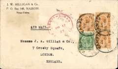 (Kenya) Gladstone East African Experimental Aimail Service, return third flight, KIsumu-Khartoum, crashed on Lake Victoria, commercial corner cover franked 70c canc Nairobi 10 MR 27, red circular Kenya-Sudan Air Mail March 12 cachet and black three line  'Owing temporary failure/Air Service Mail/  forwarded normal route'. On the reverse of the cover is a further stamp adhering and presumably from the next letter in the pile.