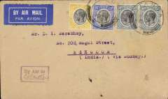 (Kenya) East African instructional marking, Kenya-Burma, bs 31/12, via Calcutta 30/12, plain cover franked 140c canc Tanga cds, purple boxed 'By Air to/ (ms) Calcutta' instructional marking used in Tanganyika, Finland 'International Exchange' label verso . Good routing.