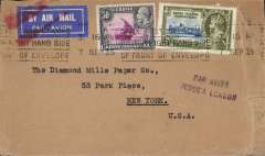 (Kenya) Early 'Transatlantic' airmail, Nairobi to New York, plain cover franked 70c tied Proud 'M1 State 1 for the Nairobi GPO' machine cancel,  purple two line 'Par Avion/Jusqu'a London' applied in Nairobi, airmail etiquette cancelled red two bar Jusqu'a applied in London.