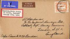(South Africa) First scheduled flight northbound between London and Cape Town, Cape Town to London, airmail etiquette cover  franked 1/-.  'Cape Town, South Africa / to London England/January 27th 1932 'label on front.