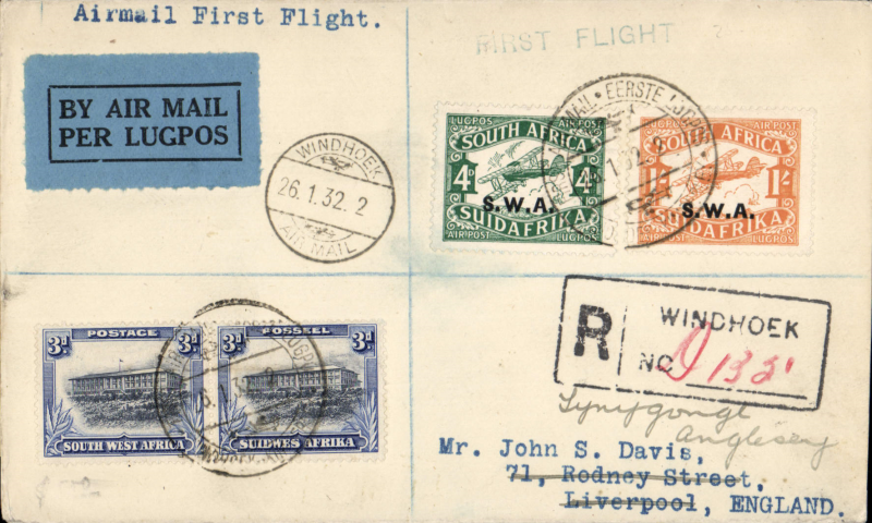 (South Africa) Windhoek to London, bs Liverpool and Anglesey,18/2,  for carriage on the 1st schedule flight northbound between London and Cape Town , registered (hs) cover franked South West Africa 1/10d tied Windhoek commemorative postmark.