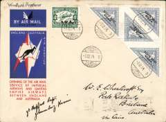 (South West Africa) Windhoek to Australia, bs Brisbane 21/12, first acceptance of African 'all the way' airmail for Australia, official 'Kangaroo' cover franked block of four 4d triangulars and 4d air ((SWA opt's) canc black Windhoek Lugpos/Air Mail cds, signed by Capt. JS Sheppard who flew the Johannesburg-Kisumu leg of the route. Sent by LA Wyndham - see 'L.A.Wyndham/House of Assembly/Capetown' hs verso. Nice item.
