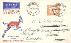 (South Africa) Imperial Airways, Johannesburg to Paris, bs Paris Avion 16/ 2, for carriage on the 1st schedule flight northbound between London and Cape Town, springbok cover franked 1/-.