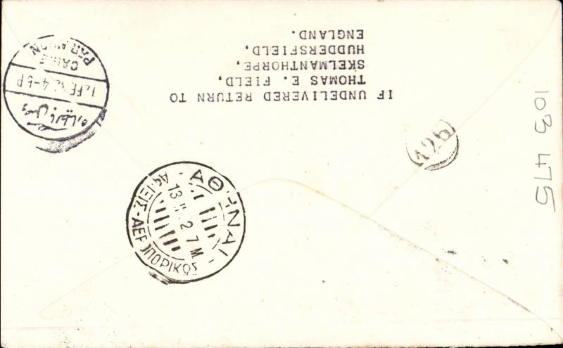 (South Africa) Imperial Airways twice interrupted flight first flight, Cape Town to Athens, 13/2 arrival ds, Springbok cover franked 1/-, carried on first regular flight Cape Town-London. The City of Basra was damaged at take of at Salisbury. Mail was transferred to City of Delhi which had to make an emergency landing due to bad weather near Broken Hill. Mail was transferred to City of Baghdad and arrived in Athens 9 days later than scheduled.