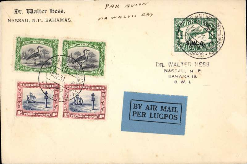 (South West Africa) Bahamas acceptance, Windhoek to Nassau, bs 25/32, for carriage on the South West Africa Airways special Windhoek-Kimberley flight to connect with the Imperial Airways experimental London-Cape Town flight, Walter Hess corner cover franked 3d+4d air canc special 'Windhoek-Kimberley' postmark.