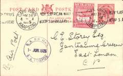 (South Africa) Experimental Flights between Cape Town and Durban March-June 1925. Cape Town to East Durban, correctly rated 1d PSC with additional 1d, fine strike special black double ring 'SA Air Mail/AA Lugpos/1 Jun' on front.