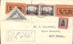 (South Africa) First South African Internal Airmail Service. F/F Durban to East London, bs 29/8, registered (hs) cover correctly rated 9d, Union Airways (PTY) Ltd.