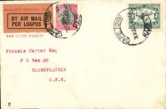 (South Africa) First South African Internal Airmail Service. F/F Cape Town to Bloemfontein, correctly rated 1d + 4d air, Union Airways (PTY) Ltd.