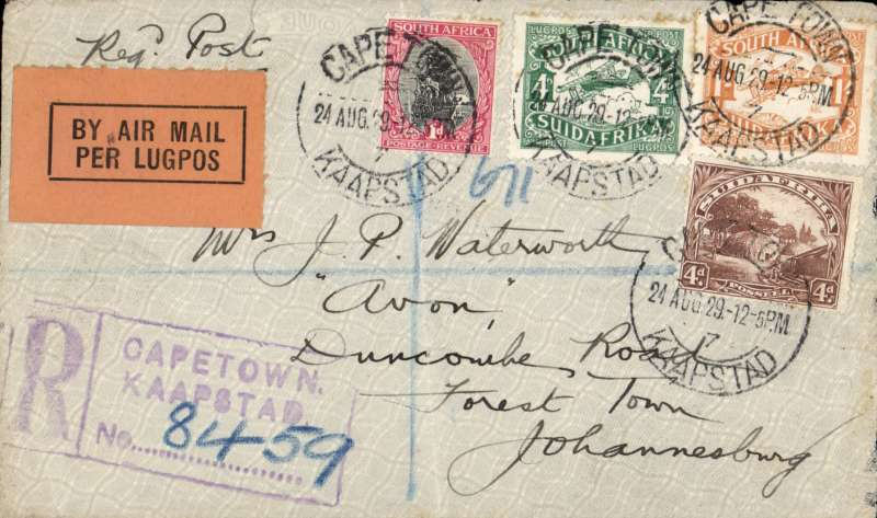 (South Africa) First South African Internal Airmail Service. F/F Cape Town to Johannesburg, interrupted at Bloemfontein and contnued by mail to Jo'burg, bs 24/8, registered (label) cover franked 1/9d, Union Airways (PTY) Ltd. Some rough opening verso edge and hinge marks.
