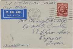 (GB Internal) Railway Air Service, an exceedingly rare first flight commercial cover to Enfield cancelled with the Douglas Isle of Man 10am postmark, Flown on the first stage to Manchester where the flight was terminated due to weather conditions, then forwarded by surface. Franked with a KG V 1½d photogravure on its day of issue.Making it a double first (See Redgrove p61).