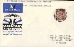 (GB Internal) Isle of Wight to the Orkneys, Cowes to Kirkwall, bs 22/8, carried on the RAS F/F fom Cowes to Manchester, then OAT to Inverness by Higland Airways, official cover franked 1 1/2d canc Cowes cds.