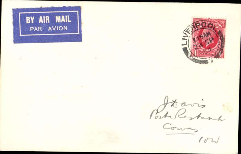 (GB Internal) Railway Air Service, postcard flown from Liverpool to Cowes, bs 24/9, franked FDI GV 1d photogravure stamp. Cards are uncommon.