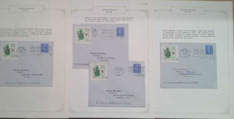 (Collections) British European Airways, first issue of stamps, four official covers bearing the  6d Airway Letter stamp flown on the first day of issue, January 16th 1951 each with a two line dispatch cachet applied verso, London to Glasgow, Glasgow to London, Glasgow to Belfast, and Belfast to Liverpool. Image.