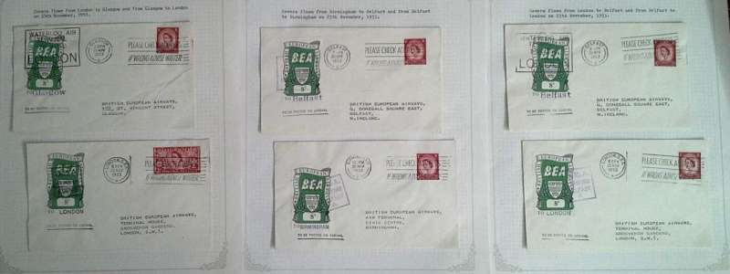 (Collections) British European Airways, fourth issue, six official covers bearing the 8d Airway Letter Stamp, flown on the first day of issue, 25th of November 1953, London to Glasgow, Glasgow to London, Belfast to Birmingham, Birmingham to Belfast, Belfast to London, and London to Belfast. Image.