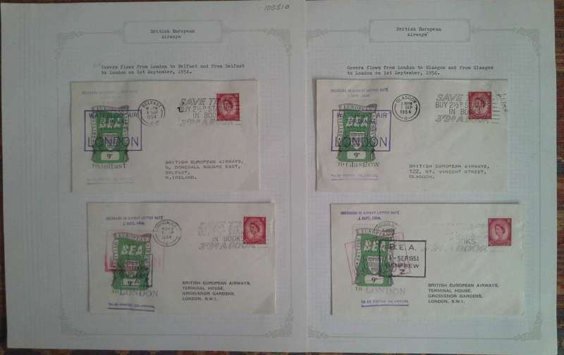 (Collections) British European Airways fifth issue, four official covers bearing the 9d Airway Letter Stamp flown on the first day of issue 1st September 1954, London to Belfast, Belfast to London, Glasgow to London, and London to Glasgow.Image.