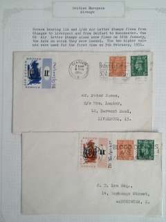(GB Internal) Covers bearing 11d and 1/4d  Air Letter Stamps flown Glasgow to Liverpool and Belfast to Manchester, each on the first date used, 9th February 1951.
