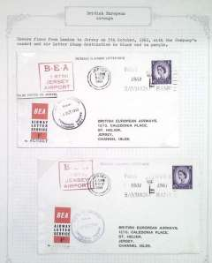 (GB Internal) British European Airways Airways letter labels, 9th issue. Two covers, each bearing the one shilling issue, flown from London to Jersey on the 5th of October 1961 with the company's cache and a letter stamp destination in black and in purple.