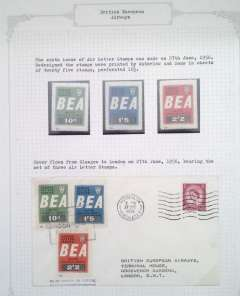 (GB Internal) British European Airways letter labels, sixth issue, 27th June 1954, official cover flown Glasgow to London bearing the set of 3 air letter stamps, also unmounted mint set of three 10d, 1/5d and 2/2d.