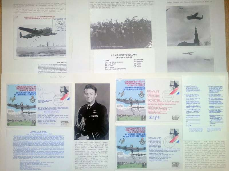 (Collections) World War II, Operation Manna, a five page exhibit to commemorate the 40th anniversary (1/4/45) of a humanitarian food drop carried out to relieve a famine in German-occupied Holland, undertaken by Allied bomber crews during the final days of World War II in Europe comprising three black and white photo cards showing Lancaster aircraft of bomber Command over Holland during the operation, and four commemorative picture postcards (two signed). Image.