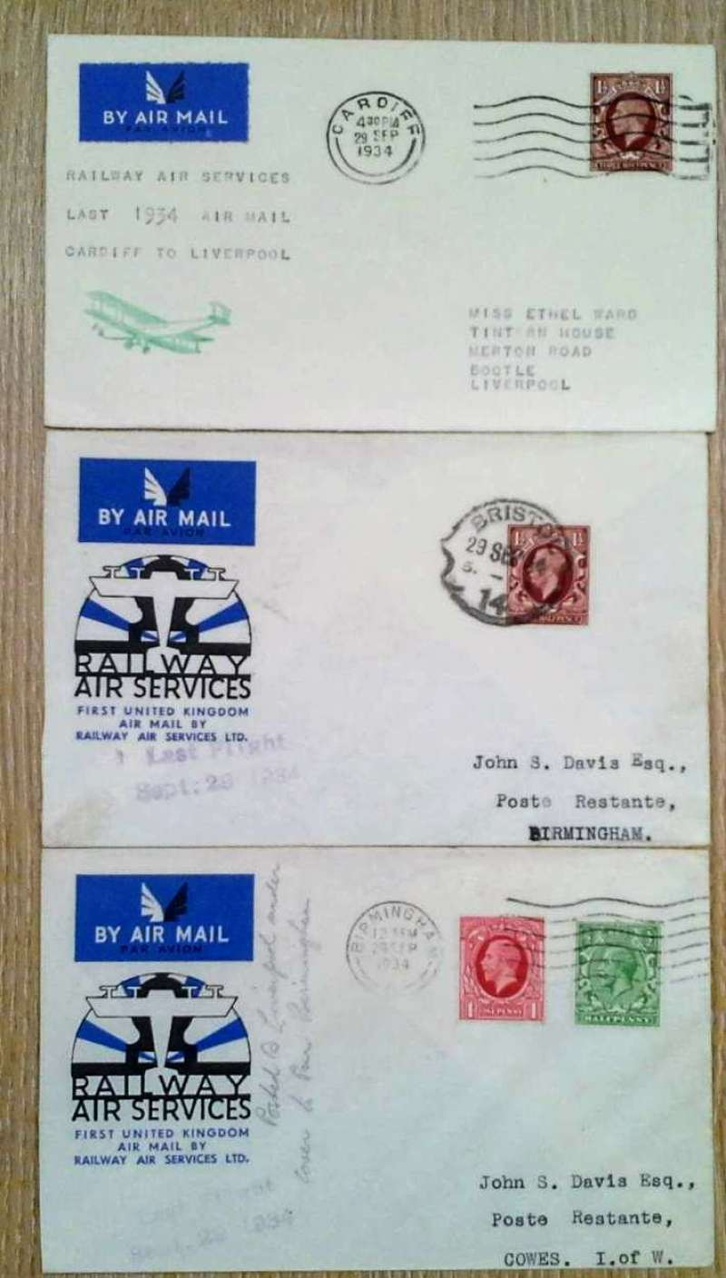 (Collections) Railway Air Service, a sample of three covers flown on the last flights of 29/9/34 comprising  Bristol to Birmingham 1/10 official cover and and 'Last Flight' hs;  Cardiff to Liverpool plain cover with biplane cachet; and Birmingham to Cowes 1/10 official cover and 'Last Flight' hs. A nice addition to an RAS collection, all fine, images.