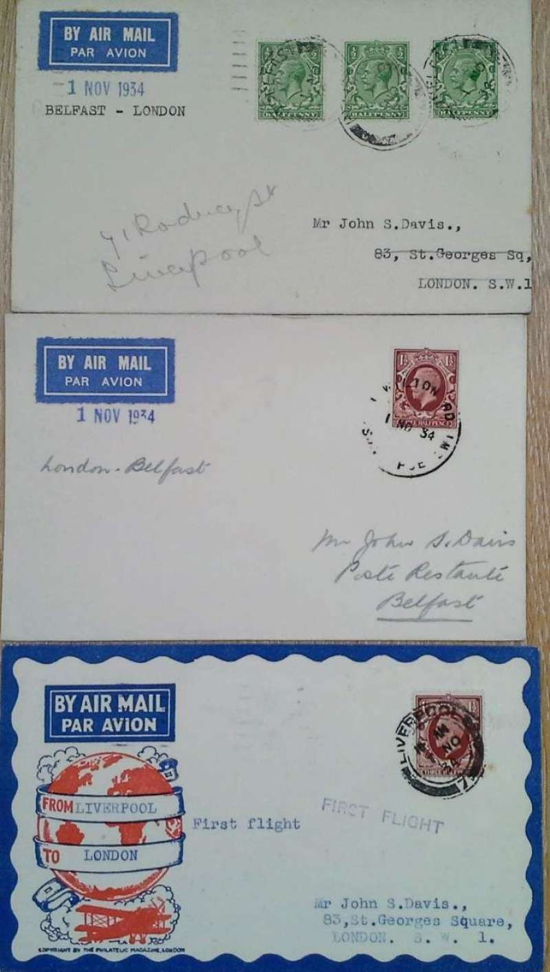 (Collections) Railway Air Service, three covers flown on the first day of the new timetable  when Liverpool replaced Manchester and Birmingham comprising 1/11/34 Belfast to London 2/11; Liverpool to London 2/11, and London to Belfast  1/11 postmarked with the special supplementary mail handstamp applied to mail handed over at the Head Office of Imperial Airways Ltd London up to 30 minutes after the mail had closed at the G.P.O.. A nice little group, all fine, image.