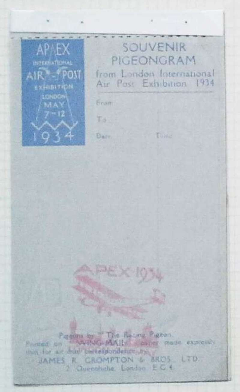 (GB Internal) London International Air Post Exhibition 1934, Pigeongram, complete pad with red cachet, unused.