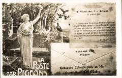 (GB Internal) London International Air Post exhibition 1934, unused souvenir postcard showing real photo reproduction of the Paris 'Matin' pigeon post which carried messages on tissue. These were then putting in small envelopes attached to souvenirs postcards and posted to the addressees.