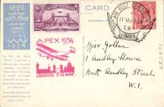 (GB Internal) London International Air Post Exhibition 1934, souvenir postcard postmarked 11th May 1934 special Expo cancellation, purple vignette, red Apex cachet, and Apex publicity label. Verso real photo reproduction of the Paris 'Matin' pigeon post which carried messages on tissue. These were then putting in small envelopes attached to souvenirs postcards and posted to the addressees.